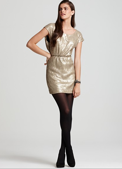 gold party dress, belted sequin new years dress from rebecca minkoff, boudoir photography, holiday party ideas