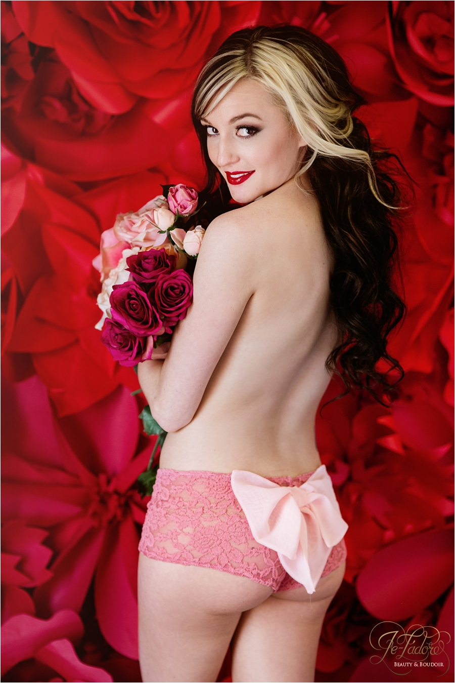 sweet valentine's day boudoir photo shoot pink lingerie